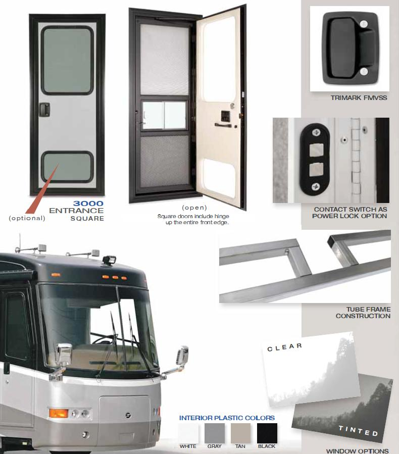 RV entry door with latch and frame